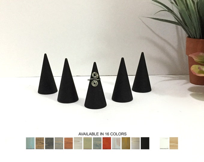 Ring Displays Set of 5 Ring Cones Holders Organizers Retail Fixtures Black