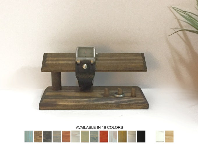 Wood Watch Display Stand Holder with Ring Organizer Stand Retail Fixtures Jewelry Props