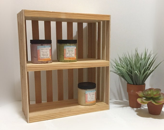 Wooden Crate 3 Shelves Candles Oils Body Sugar Scrubs Lotions Spa Yoga Products Display Holders Stands Boutique Market Shelving