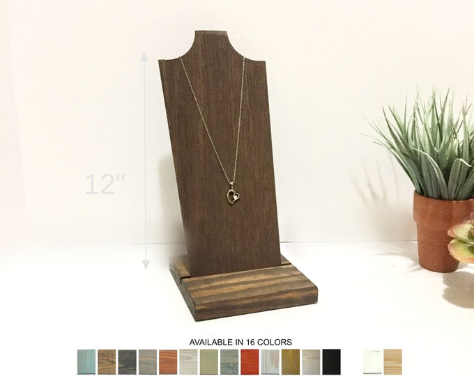 Wood Removable Necklace Displays Busts Neck Forms Stands Holders for Retail Fixtures Craft Shows 12-inches