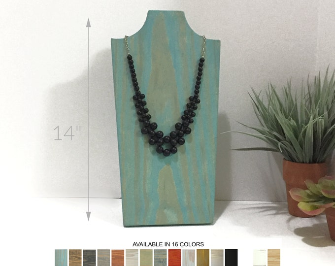Collapsible Wood Necklace Displays Busts 14-inch