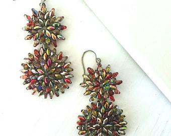 Red Gold Beaded Earrings, Red Beaded Drop Earrings, Boho Bead Woven Fashion Earrings