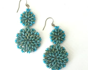 Turquoise Blue Crystal Earrings, Blue Beaded Drop Earrings, Boho Bead Woven Fashion Earrings