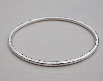 9111a4b3080 Hammered Solid Silver Bangle | Sterling Silver