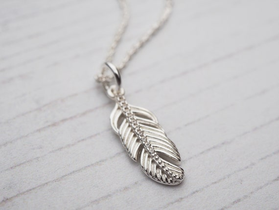 Tiny Silver Feather Necklace, Sterling Silver & Cubic Zirconia