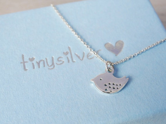 Tiny Silver Bird Necklace - Childrens Jewellery - Sterling Silver