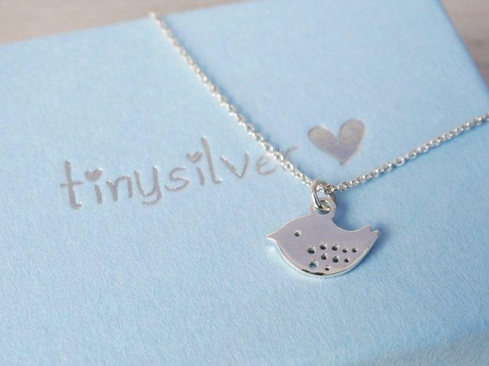 Tiny Silver Bird Necklace