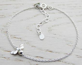 Silver Bee Bracelet - Sterling Silver - Gold Details