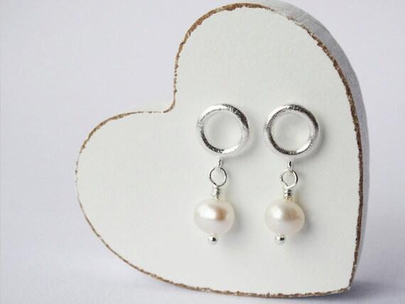 Silver Hoop Stud Earrings & Pearls - Sterling Silver