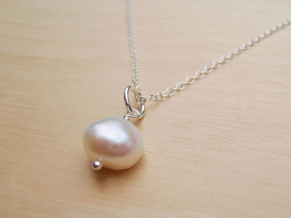 Pearl & Silver Necklace - Large Freshwater Pearl, Wedding Jewellery, Bridesmaid Gifts, Everyday Jewellery - Sterling Silver