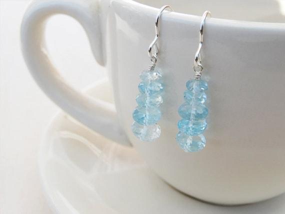 Sky Blue Topaz & Silver Drop Earrings - Sterling Silver