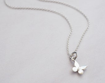 Tiny Silver Butterfly Necklace | Sterling Silver