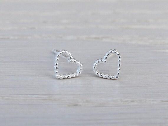 Tiny Silver Dotty Heart Stud Earrings - Sterling Silver