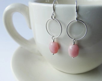 Pink Opal & Silver Earrings - Sterling Silver