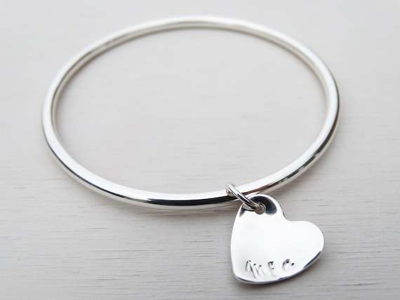 Personalised Silver Heart Bangle, Sterling Silver, Stamped Names