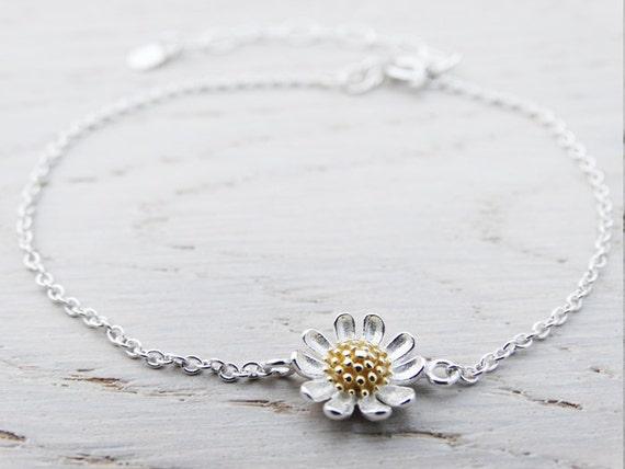 Silver & Gold Daisy Bracelet, Sterling Silver