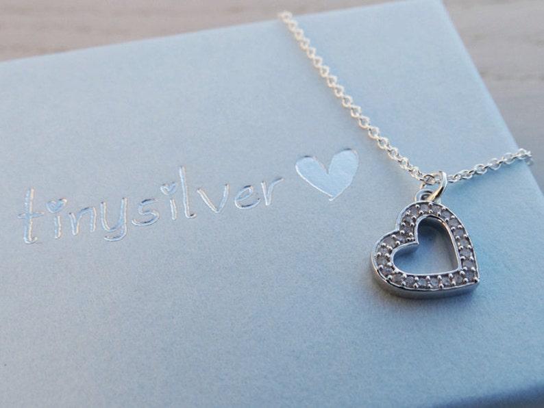 Silver Diamond Heart Necklace Diamonds Sterling Silver
