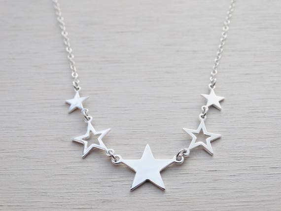 Silver Stars Necklace, Sterling Silver, 5 Stars