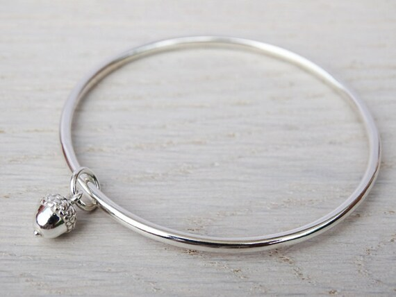 Sterling Silver Childrens Bracelet With Acorn