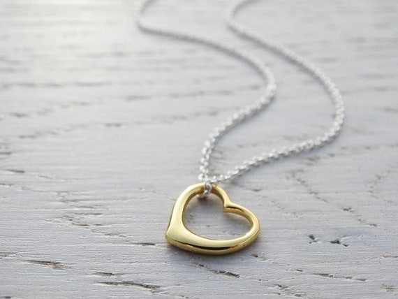 Gold Open Heart Necklace ~ Sterling Silver