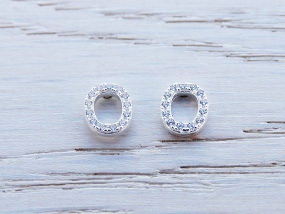 Sterling Silver Oval Studs, Cubic Zirconia
