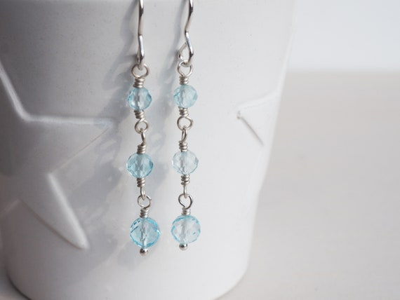 Sky Blue Topaz & Silver Drop Earrings, Sterling Silver, Faceted Rounds