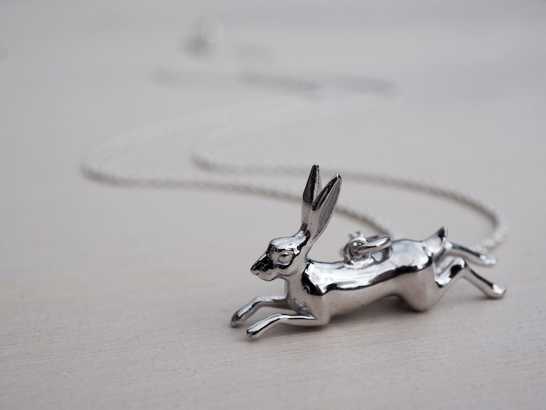 Leaping Hare Charm Pendant 925 Solid Sterling Silver