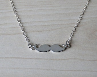 Tiny Silver Moustache Necklace - Sterling Silver