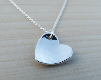 Silver Heart Necklace - Hammered - Sterling Silver