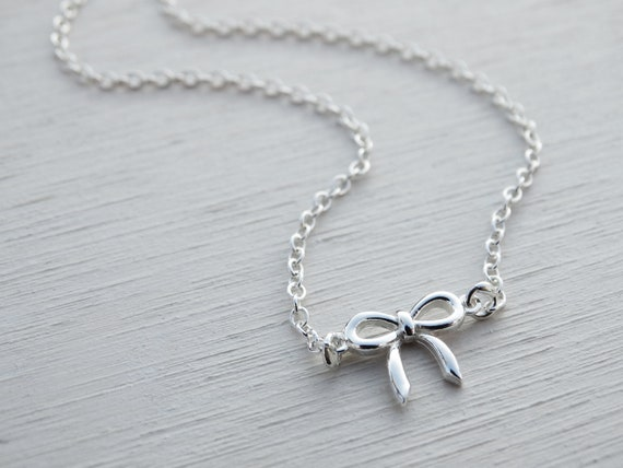 Tiny Silver Bow Necklace, Sterling Silver