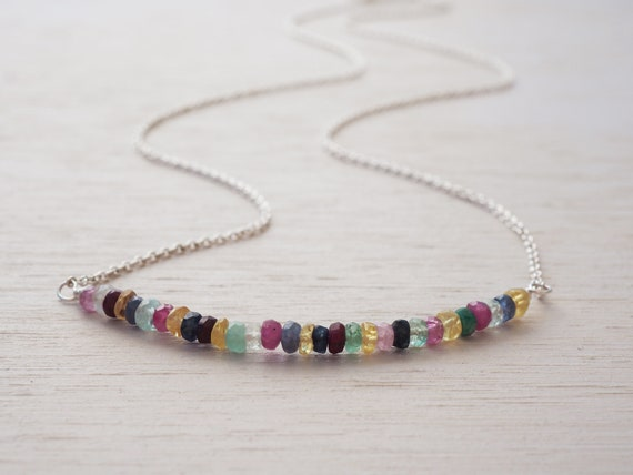 Rainbow Necklace, Sterling Silver, Rubies, Sapphires & Emeralds