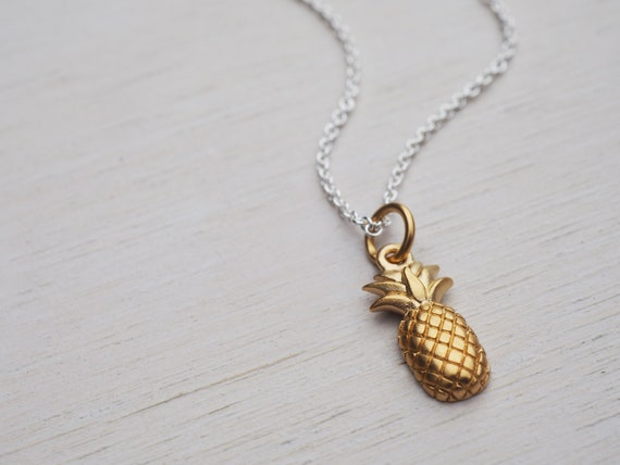 Tiny Pineapple Necklace, Sterling Silver & Gold