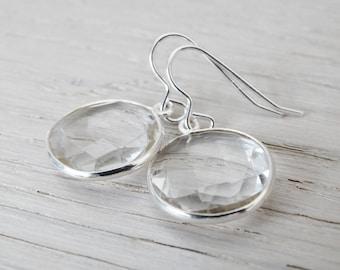 Clear Quartz & Silver Earrings - Sterling Silver