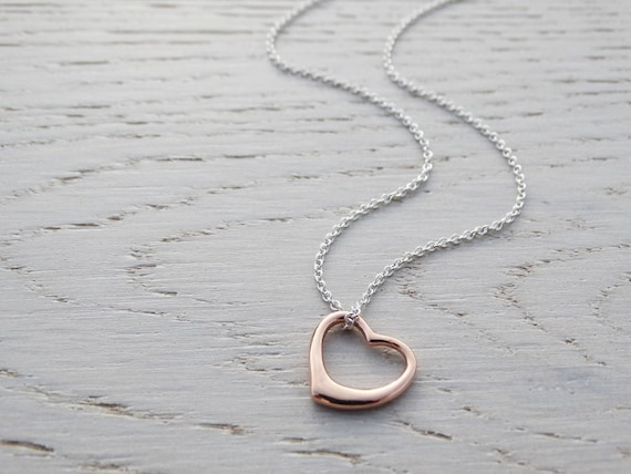 Rose Gold Open Heart Necklace - Sterling Silver