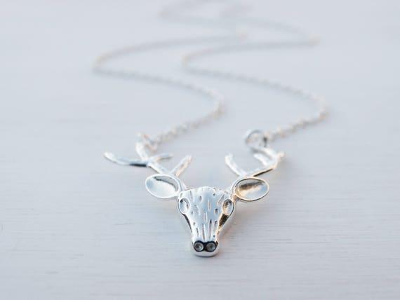 Silver Reindeer Necklace, Sterling Silver