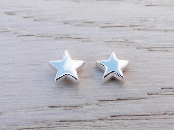 Silver Star Stud Earrings, Sterling Silver