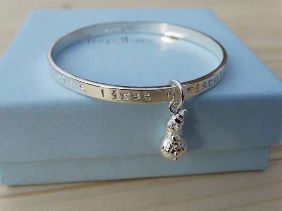 Personalised Silver Snowman Bracelet For Babies First Christmas - Sterling Silver