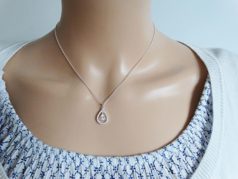 Sterling Silver /& Cubic Zirconia Drop Necklace