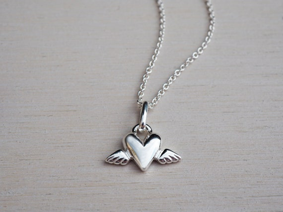 Tiny Silver Winged Heart Necklace, Sterling Silver