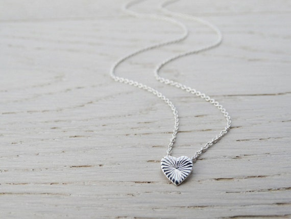 Tiny Silver Heart Necklace - Textured - Sterling Silver