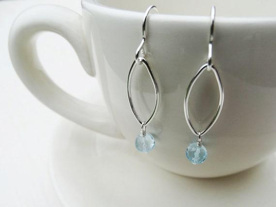 Silver & Sky Blue Topaz Drop Earrings - Sterling Silver