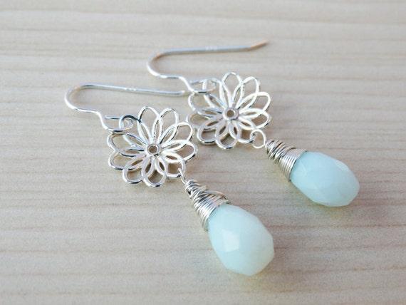 Silver Flower Earrings With Blue Opal - Sterling Silver