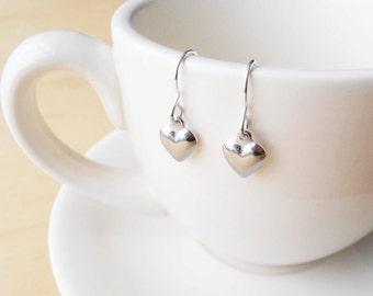 Silver Heart Earrings - Sterling Silver