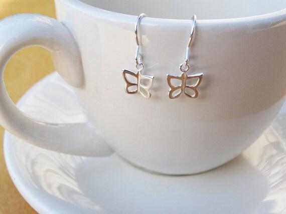Tiny Silver Butterfly Earrings - Sterling Silver