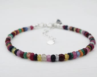 Rainbow Gemstone & Silver Bracelet, Sterling Silver, Sapphire, Ruby, Emerald