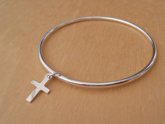 Silver Christening Bracelet - Sterling Silver Children's Bangle With Cross