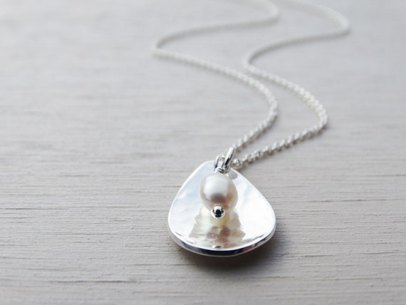 Mini Silver Drop Necklace & Pearl, Sterling Silver, Bridesmaid Gift