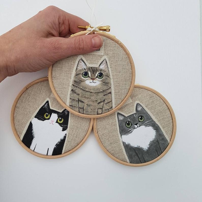 Custom cat portrait  Personalised pet portrait  Cat Mom image 0