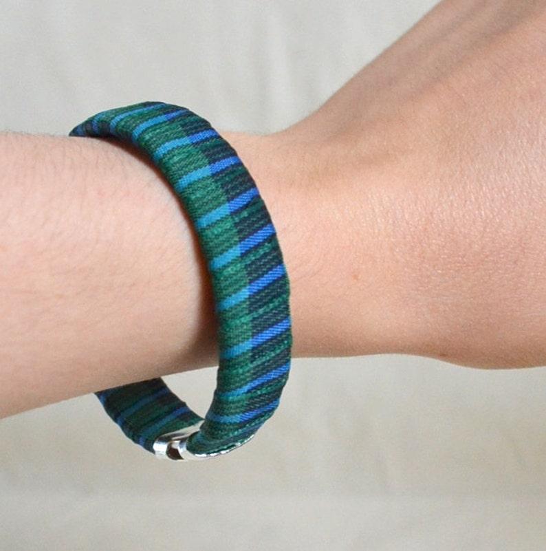 Handmade Ribbon Bangle Bracelet Cuff NEW /& Repurposed Blue Green Plaid Unique Rockabilly Punk Slip on OOAK Gift Ready to Ship Eco Friendly