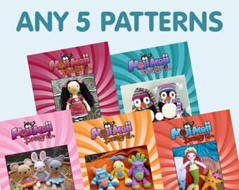 Any 5 Amigurumi/Crochet Patterns of your choice.